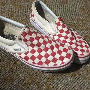 Red Checkered Vans size 8.5
